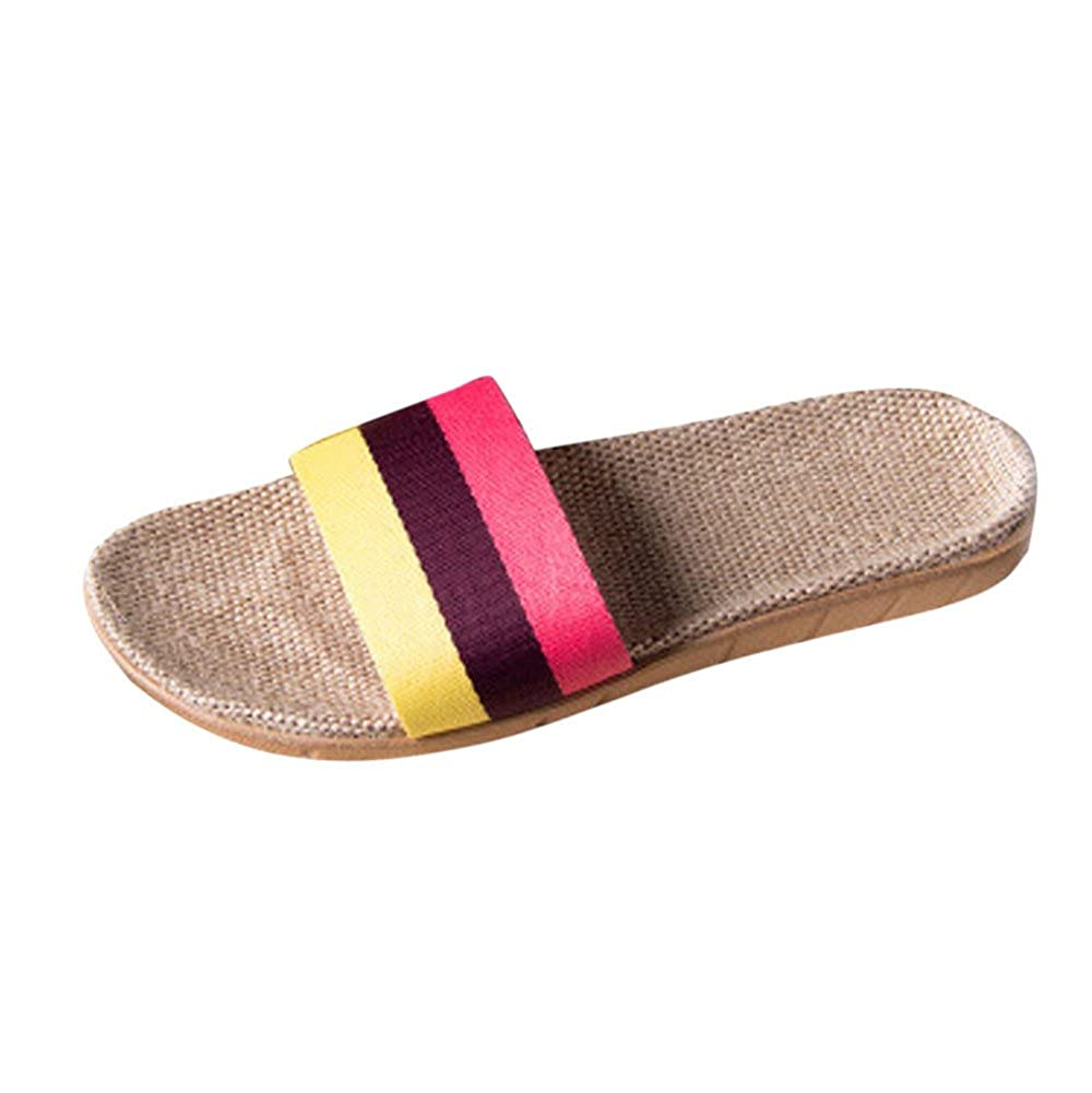 HYIRI Indoor Summer Slippers Womens Mens Anti-Slip Linen HomeOpen Toe Flats Shoes Yellow