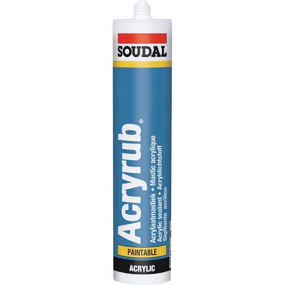 Soudal 102600 'Acryrub –  Sellador de juntas de acrí lico, 310 ml, color blanco 310ml