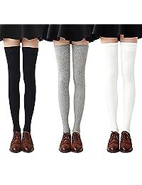 Mai Poetry 3 Pairs Womens Long Striped Socks Over Knee Thigh High Socks Stocking