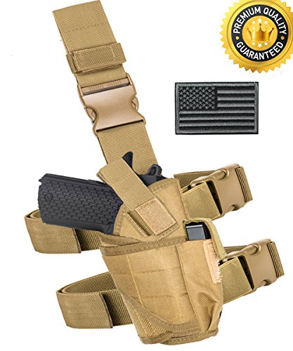 Leg Gun Holster (Carlebben Drop Leg Holster Molle airsoft holster Thigh Pistol Gun Holster Tactical Adjustable Right Handed (Tan))