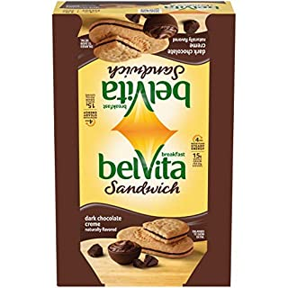 Belvita Dark Chocolate Creme Breakfast Biscuit Sandwiches, Dark Chocolate, 1.76 Oz,Pack of 8