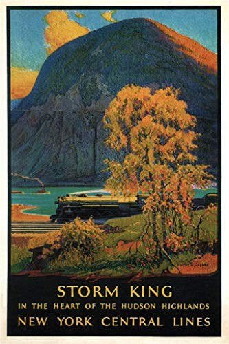 Storm King Hudson Higlands New York Central Lines Railway Vintage Travel Poster 12x18 inch
