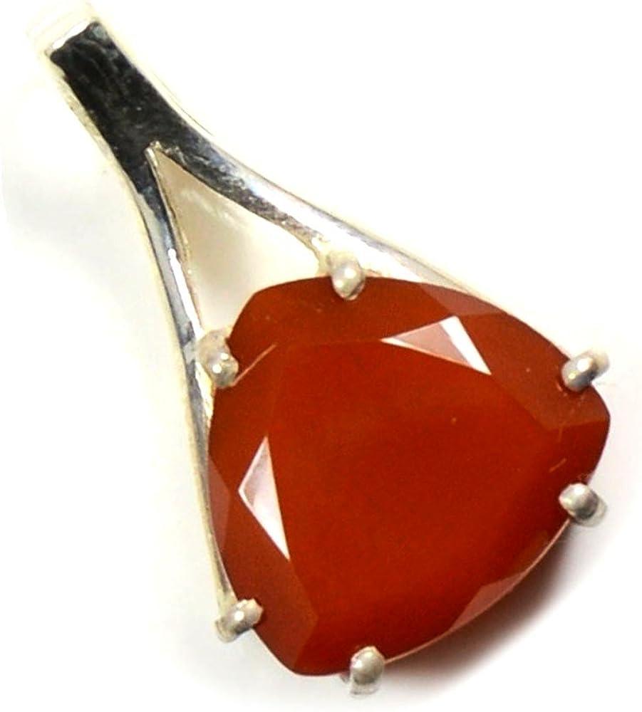 Collar con colgante de plata de 55 quilates con piedras preciosas de corte facetado de ónix rojo de 6 puntas laterales