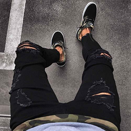 Pants Ragazzo Uomo Stretch Casual Jeans Destroyed Nero Fit Strappati Used Ripped Look Da Denim Slim Pantaloni qYOR6tn