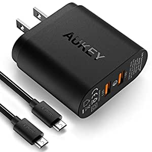 AUKEY USB Wall Charger with Dual Quick Charge 2.0 Ports & 2 MicroUSB Cables for Samsung S7/S6/Edge, Note 4/5 & More
