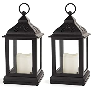 Bright Zeal /Pack of 2/ Vintage Candle Lantern with LED Flickering Flameless Candle (Black, 8hr Timer, Batteries Included) - Outdoor Hanging Lantern LED - Decorative Lanterns Battery Powered