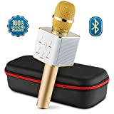 Wireless microphone mic karaoke amplifier machine Bluetooth 2.1 Handheld portable Broadcast, Present, youtube songs Connect Android, Apple & Computers - By Karaoke-Mike