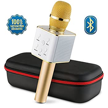 Wireless Microphone Karaoke Mic Amplifier Machine Bluetooth Handheld Portable Broadcast, Present, Youtube Songs Connect Android, Apple & Computers – By Karaoke-mike(gold) 8
