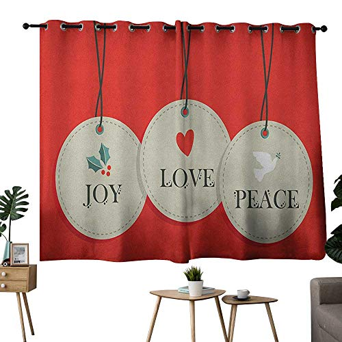NUOMANAN Living Room Curtains Christmas,Joy Love and Peace Words Pendants Merry Christmas Holiday Celebration Theme, Vermilion Cream,Rod Pocket Drapes Thermal Insulated Panels Home décor 42