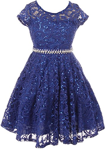 Big Girls Cap Sleeve Glitter Lace Pearl Holiday Junior Bridesmaid Flower Girl Dress USA Royal 14 (2J1K0S2)