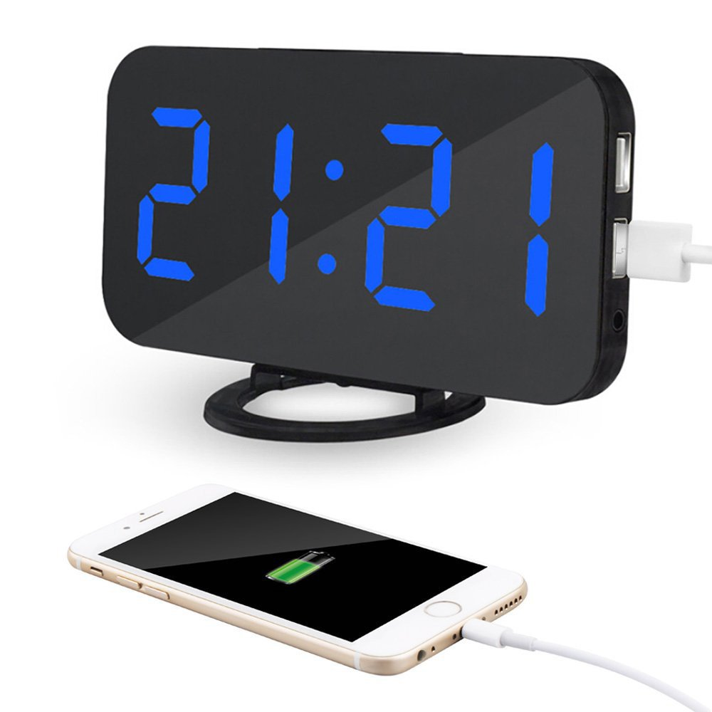 Kidshome 2 In 1 Creative LED Digital Alarm Clock with USB Ports Mirror Surface Brightness Adjustable Table Clock Suitable for Home Office Hotel Room Decorate (Black)(Blue Dispaly)
