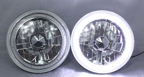 "1969, 1970, 1971, 1972, 1973, 1974 Ford F-100 F-250 F-350 Pickup 7"" Round 6014/6015/6024 White LED SMD Halo Headlights"