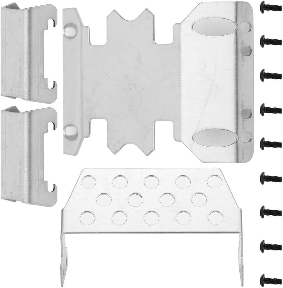 Resistente Piastra Paramotore per Armatura in Acciaio Inossidabile Piastra di Protezione Posteriore Centrale Anteriore Accessori RC per Axial SCX24 90081 Dilwe Piastra Paramotore per Auto RC