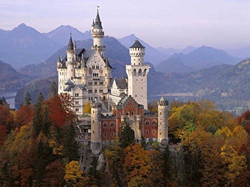 Neuschwanstein Castle In Autumn, Bavaria, Germany -Oil Painting On Canvas Modern Wall Art Pictures For Home Decoration Wooden Framed (12X16 Inch, Framed)