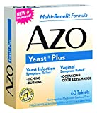 AZO Yeast Plus, Vaginal And Yeast Infection Symptom Relief, Multi-Benefit Dietary Supplement, Lactose Free, Candida Albicans 30X, Kreosotum 30X, Natium Muriaticum 12X, Sulphur 12X, 60 Count