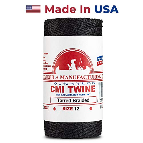 Catahoula Manufacturing #12 Tarred Braided Nylon Twine (Bank Line) 400', One Size, Black