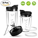 ninja replacement cup blades - Ninja Blender Replacement Parts Bottom Blade 7 Fins 2 Cups 2 Spout Lids and 2 Gaskets Rubber for Nutri Ninja Bullet Blender Auto iQ BL482 BL642 NN102 BL682 BL2013