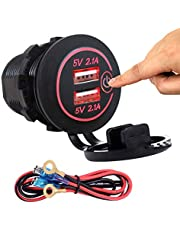 Dual USB 4.2A Charger Socket 12V/24V Waterproof Power Outlet with Touch Control Switch for Car Boat Marine Motorcycle Wire Fuse DIY Kit