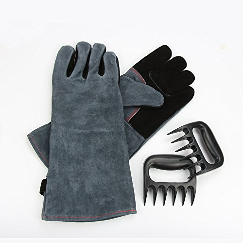 OZERO Leather BBQ Grilling Gloves |Long Sleeve Oven Glove - Meat Bear Claws for Shredding/Handling Turkey from Grill/Smoker - |Barbecue Accessories| Heat Resistant & Food Grade for Cooking (1 Pair)