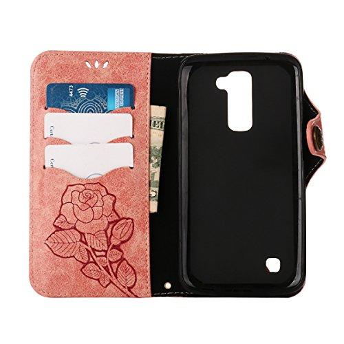 MEIRISHUN Leather Wallet Case Cover Carcasa Funda con Ranura de Tarjeta Cierre Magnético y función de soporte para LG K10 - Verde claro Rosado