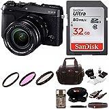 Fujifilm X-E3 Mirrorless Camera w/XF18-55mm Lens Kit (Black) & Focus Camera Gadget Bag & 64gb memory Card