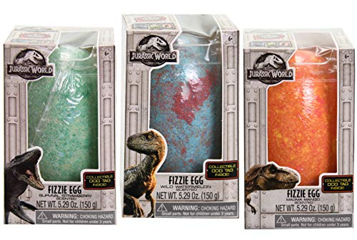 Egg Bath - 3 Jurassic World Dinosaur Jumbo Fizzle Egg Bath Bombs With Collectible Dog Tags Inside - Includes Wild Watermelon, Magma Mango and Survival Strawberry