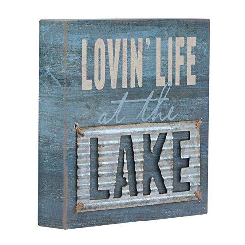 "Barnyard Designs Lovin' Life at The Lake Box Wall Art Sign, Primitive Lake House Home Decor Sign with Sayings 8"" x 8"""