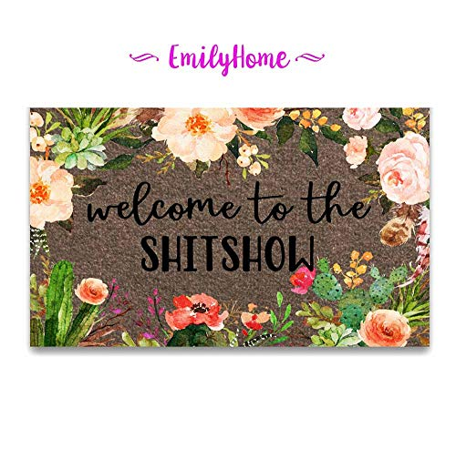 EmilyHome Doormat Welcome to The Shitshow Entrance Outdoor/Indoor Funny Floor Door Mat Area Rug for Entrance 18x30 inch