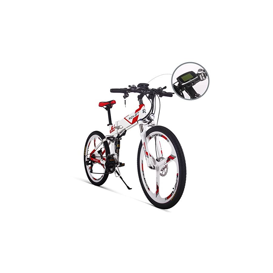 JIMAI RT 860 Mans Folding Electric Bike, Mountain Hybrid MTB Bike Bicycle Cycling Dual Suspension, 250 Watt 36V 21 Speeds, With foot Bike Air Pump, A Tool set, one piece mounting tool speedometer