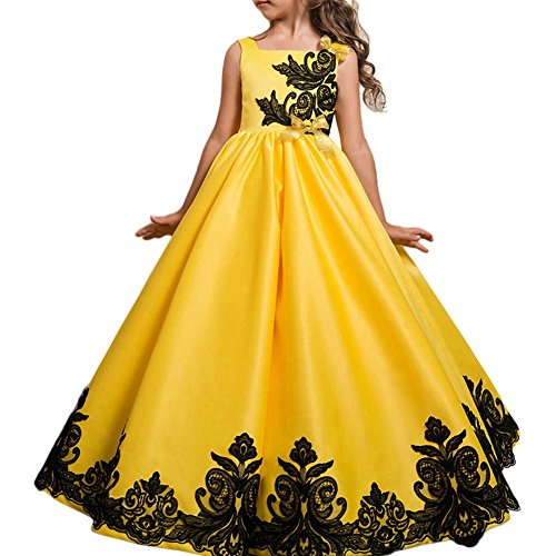 Flower Girl Fancy Dress Costumes (Glamulice Girl Party Dress Halloween Princess Costume Fancy Dress Up Flower Girls Dresses Ball Maxi Gown Yellow 7/8)