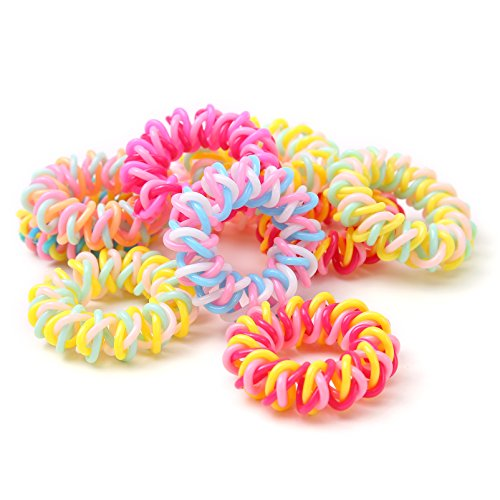 Yigou Hair Ties Traceless Elastics Hair Bands Spiral Hairbands Rings No Crease Painless Ponytail Holder for Girls,Pack of 15 -
