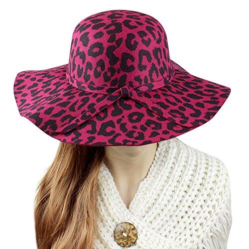(A&O International Leopard Print Floppy Fedora Felt Hat, Fuchsia and Black)