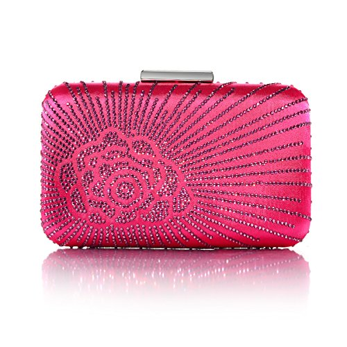 DMIX Womens Large Satin Silk Hard Clutch Evening Bag and Handbags with Crystal for Wedding Bridal Party Prom Fuchsia ()