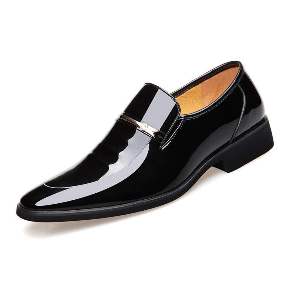 FuweiEncore Männergeschäft Spitze Zehenschuhe, Glänzende Lackleder Schuhe, Comfort Formale Schuhe, Uniform Kleider Schuhe Hochzeit Casual Party,schwarz,42 (Farbe   Wie Gezeigt, Größe   Einheitsgröße)