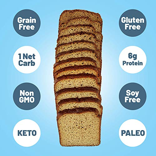 Planet Princess Keto Sandwich Bread — Only 1 NET Carb and 6g Protein. Grain-Free, Gluten-Free, Low Carb, No GMO, Sugar-Free, Keto, Paleo, No-Preservatives. Perfect Size for Sandwiches. (2 Packs)