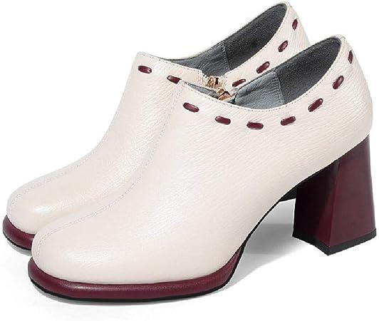 TPOO Chaussures Femmes en Cuir de tête Ronde avec de Hauts