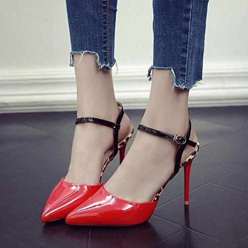 Tacón En Hembra Verano Rojo Señaló El Zapatos De Bien Con GAOLIM rojo De Amarre Mujer De Sandalias Ranurados Zapatos 6nWCZOq