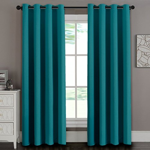 Amy Solid Thermal Blackout Grommet Window Curtain 2 Panels With Shiny Back To Reflect Sunshine - 74