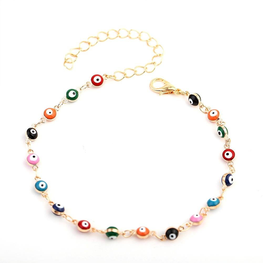CALISTOUS Women Plated Beads Ankle Chain Multi-Colored Evil Eye Pendant Fashion Anklet