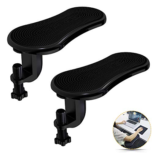 LuckIn Rotating Computer Arm Rest Support, Adjustable Wrist Armrest Board Pad, Ergonomic Arm Rest Desk Extender 2pcs, Posture Correction Health Care Arm Support for Home and Office, Black