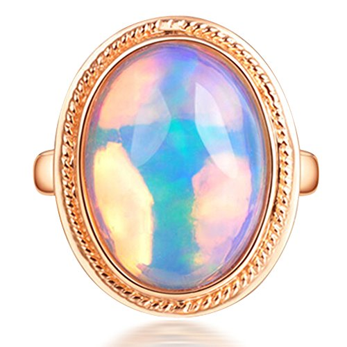 Colorful Opal Ring - Fashion Vintage Colorful Natural Australia Opal Gemstone 14K Rose Gold Wedding Engagement Band Ring for Women