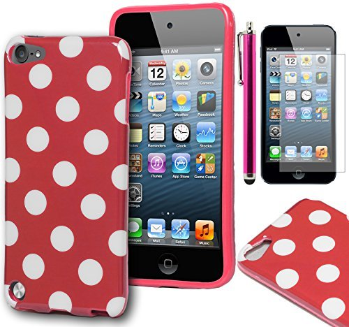 iPod Touch 5 Case, Bastex Pink & White Polka Dot Flex TPU Case Cover for Apple iPod Touch 5INCLUDES SCREEN PROTECTOR AND STYLUS [Compatible with iPod Touch 6] (Touch Dot 5 Ipod Polka)