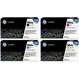 Genuine HP 504A Color (Bk/C/M/Y) Toner Cartridge 4-Pack (Includes 1 each of CE250A,CE251A,CE253A,CE252A)