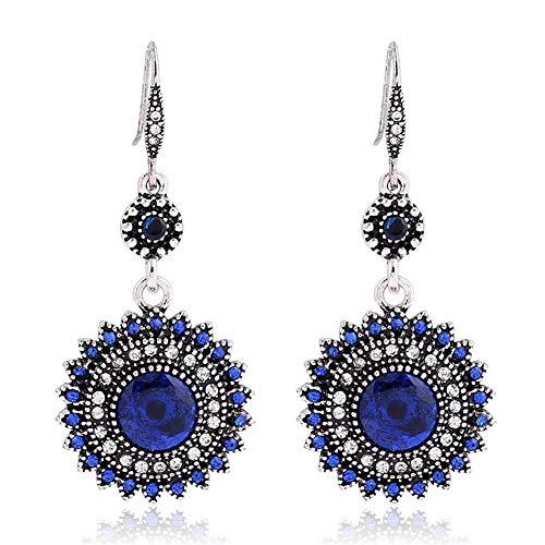 - AILUOR Vintage Round Blue Sapphire Sunflowers Dangle Earrings, Women's Unique Retro Colorful Ethnic Bohemian Earrings Jewelry for Women Girls (Blue)