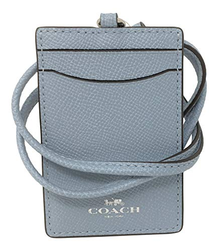 Coach ID Lanyard Badge Holder In Crossgrain Leather (Pale Blue/Silver)