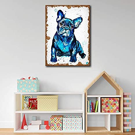 HD Canvas Wall Art Picture Print Animal French Bulldog Picture For Living Room Home Decor Oil Painting 20x30cm No Frame 7.8x11.8 inch