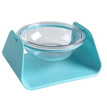 JEELINBORE Ajustable Platos elevados Comedero para Gatos y Perros Cuenco de Comida de Agua (Azul # Ángulo Ajustable, 16 * 16 * 7cm): Amazon.es: Hogar