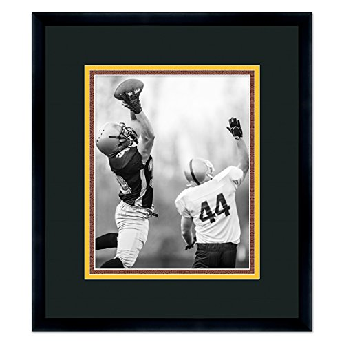 (Pittsburgh Steelers Black Wood Frame for a 16x20 Photo with a Triple Mat - Black , Gold, and Football Textured Mats )