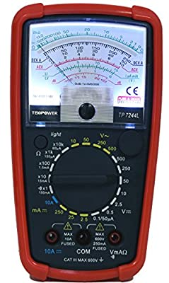 Tekpower TP7244L 7-Function 20-Range Analog Multimeter With Back Light with Strong Protective Holster by Tekpower