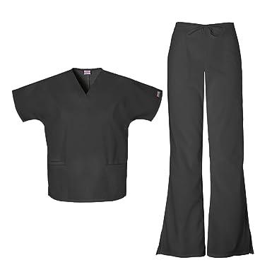 112614ccfa8 Cherokee Women's Workwear Top 4700 & Flare Leg Drawstring Pant 4101 Scrub  Set (Black -